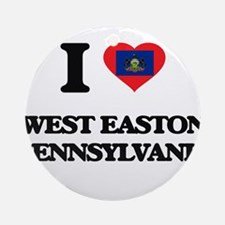 I love West Easton Pennsylvania Ornament (Round)
