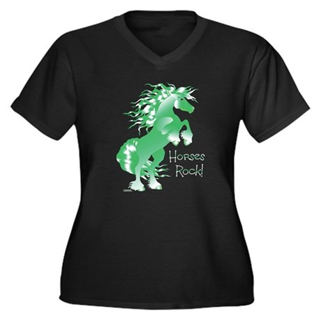 Horses Rock Green- Women's Plus Size V-Neck Dark T