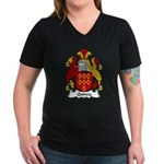 Quincy Family Crest Women's V-Neck Dark T-Shirt