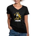 Quicke Family Crest Women's V-Neck Dark T-Shirt