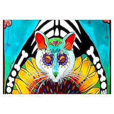 Cute Sugar skull cat Wall Art