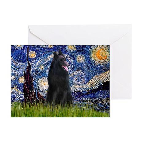 Starry Night & Belgian Shepherd Greeting Card