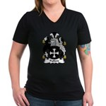 Pulford Family Crest Women's V-Neck Dark T-Shirt