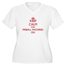 Keep Calm and Pinball Machines O Plus Size T-Shirt