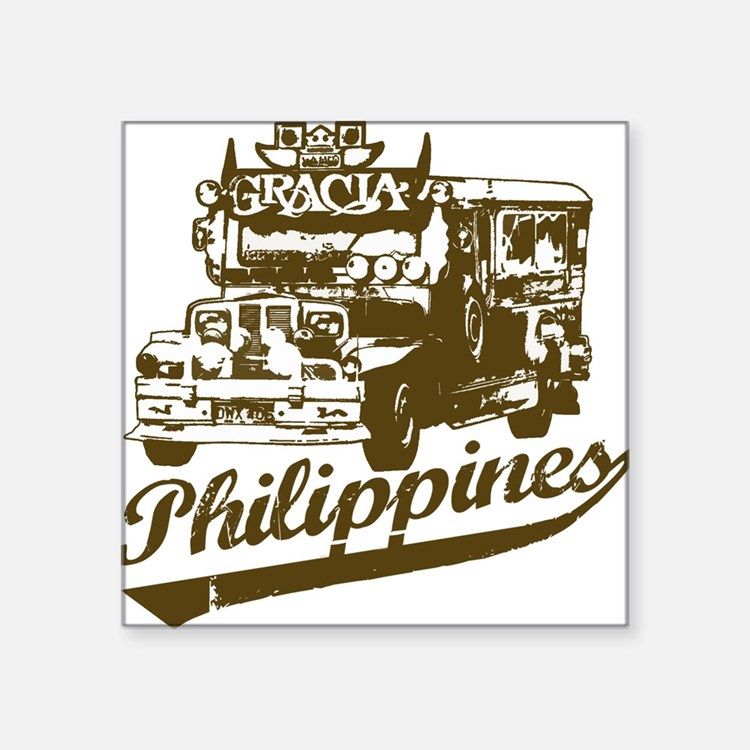 "Cute Philippines jeepney Square Sticker 3"" x 3"""