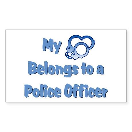 Police Officer Heart Rectangle Sticker