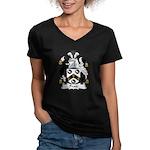 Pratt Family Crest Women's V-Neck Dark T-Shirt