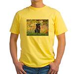 Garden / Black Pug Yellow T-Shirt
