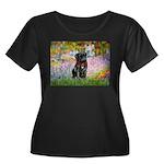 Garden / Black Pug Women's Plus Size Scoop Neck Da