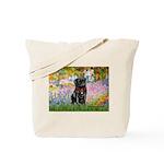 Garden / Black Pug Tote Bag