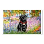 Garden / Black Pug Sticker (Rectangle)