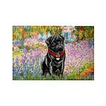 Garden / Black Pug Rectangle Magnet (10 pack)