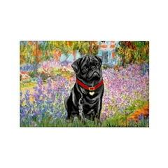Garden / Black Pug Rectangle Magnet