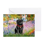 Garden / Black Pug Greeting Cards (Pk of 10)
