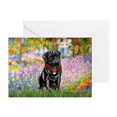 Garden / Black Pug Greeting Cards (Pk of 10)