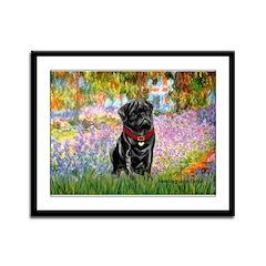 Garden / Black Pug Framed Panel Print