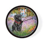 Garden / Black Pug Wall Clock
