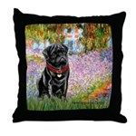 Garden / Black Pug Throw Pillow