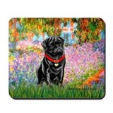 Black pug Mouse Pads
