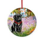 Garden / Black Pug Ornament (Round)