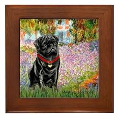 Garden / Black Pug Framed Tile