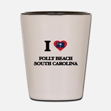 I love Folly Beach South Carolina Shot Glass