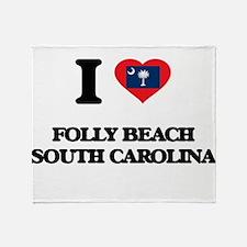 I love Folly Beach South Carolina Throw Blanket