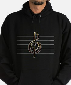 Metallic Look Treble Clef Heart Hoodie (dark)