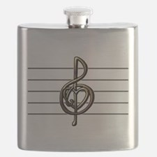 Metallic Look Treble Clef Heart Flask