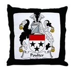 Poulter Family Crest Throw Pillow