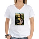 Mona's 2 Pugs Women's V-Neck T-Shirt