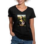 Mona's 2 Pugs Women's V-Neck Dark T-Shirt