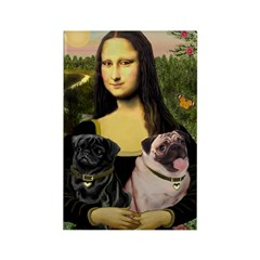Mona's 2 Pugs Rectangle Magnet (10 pack)