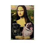 Mona's 2 Pugs Rectangle Magnet