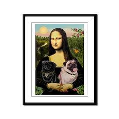 Mona's 2 Pugs Framed Panel Print