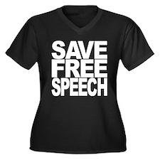 Save Free Speech Women's Plus Size V-Neck Dark T-S