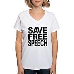 Save Free Speech Women's V-Neck T-Shirt
