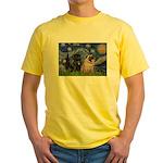 Starry Night / 2 Pugs Yellow T-Shirt