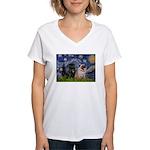 Starry Night / 2 Pugs Women's V-Neck T-Shirt