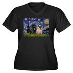 Starry Night / 2 Pugs Women's Plus Size V-Neck Dar
