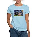 Starry Night / 2 Pugs Women's Light T-Shirt