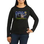 Starry Night / 2 Pugs Women's Long Sleeve Dark T-S