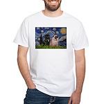 Starry Night / 2 Pugs White T-Shirt