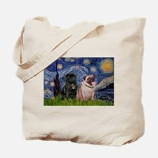 Starry Night / 2 Pugs Tote Bag