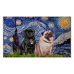 Starry Night / 2 Pugs Sticker (Rectangle)