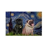 Starry Night / 2 Pugs Rectangle Magnet