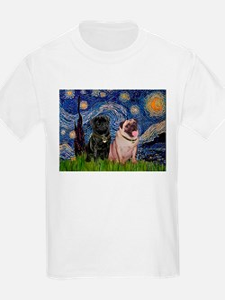 Starry Night / 2 Pugs T-Shirt