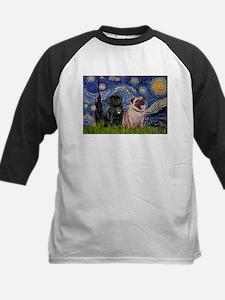 Starry Night / 2 Pugs Kids Baseball Jersey