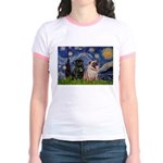 Starry Night / 2 Pugs Jr. Ringer T-Shirt