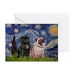 Starry Night / 2 Pugs Greeting Cards (Pk of 10)